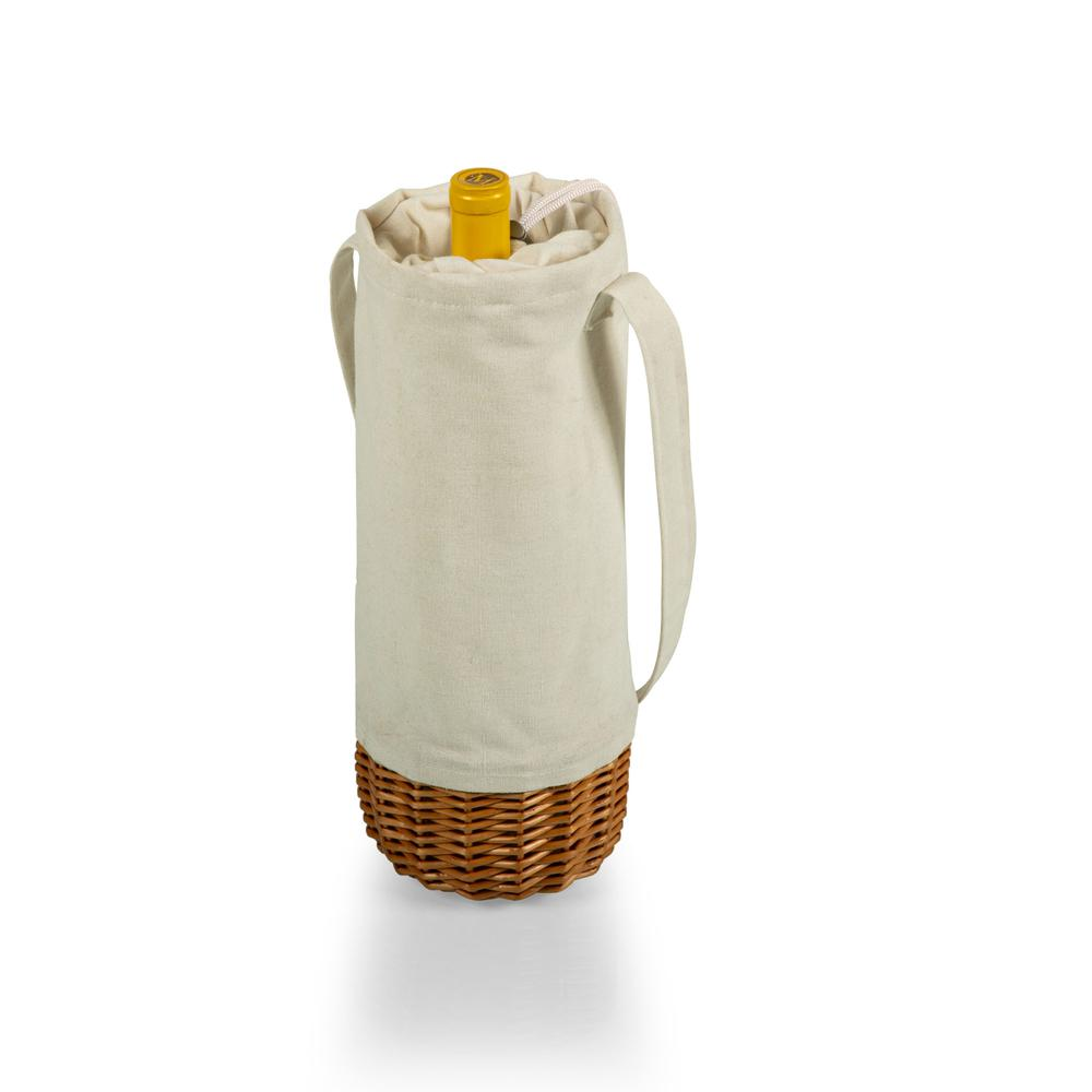 Malbec Insulated Canvas and Willow Wine Bottle Basket, (Beige Canvas). Picture 1