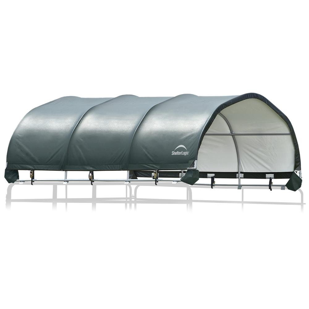 """12 x 12 ft. Corral Shelter 1 3/8"""" 7.5 oz. Green Cover (Corral panels not included). Picture 1"""
