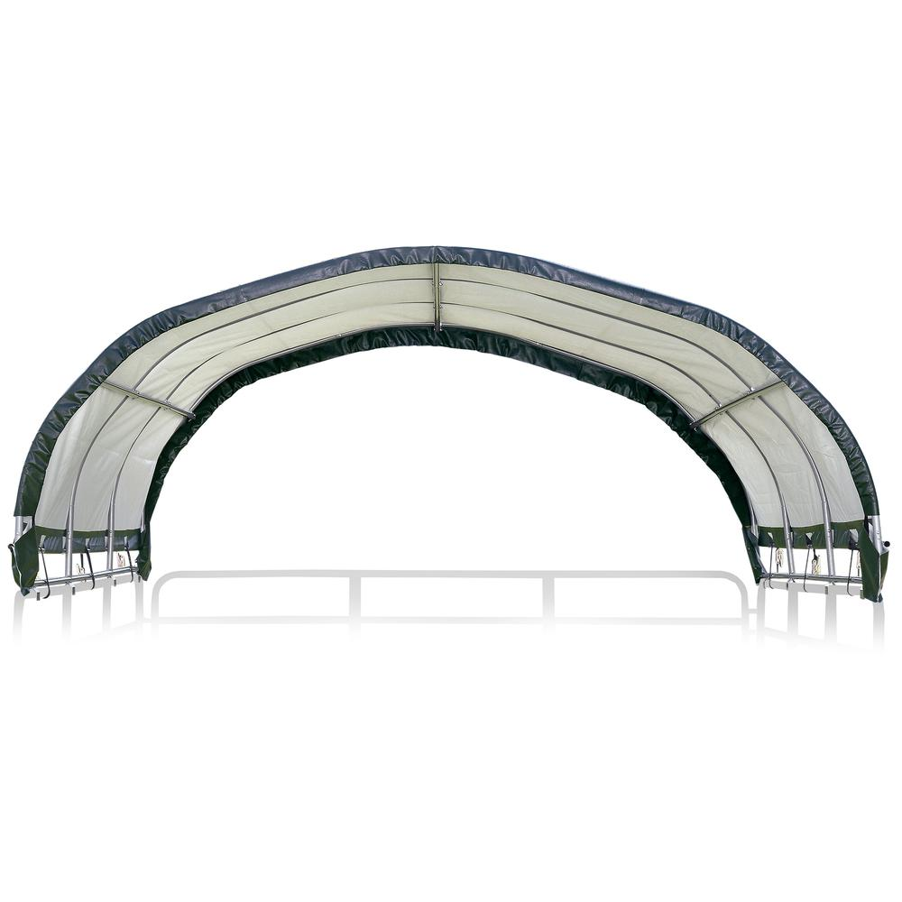"""12 x 12 ft. Corral Shelter 1 3/8"""" 7.5 oz. Green Cover (Corral panels not included). Picture 2"""