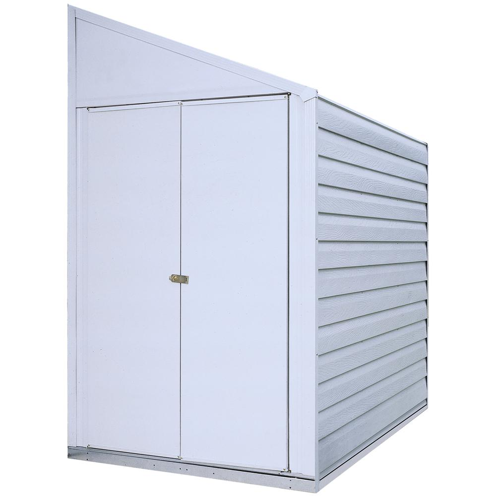 Yardsaver 4 X 7 Ft Steel Storage Shed Pent Roof Eggshell
