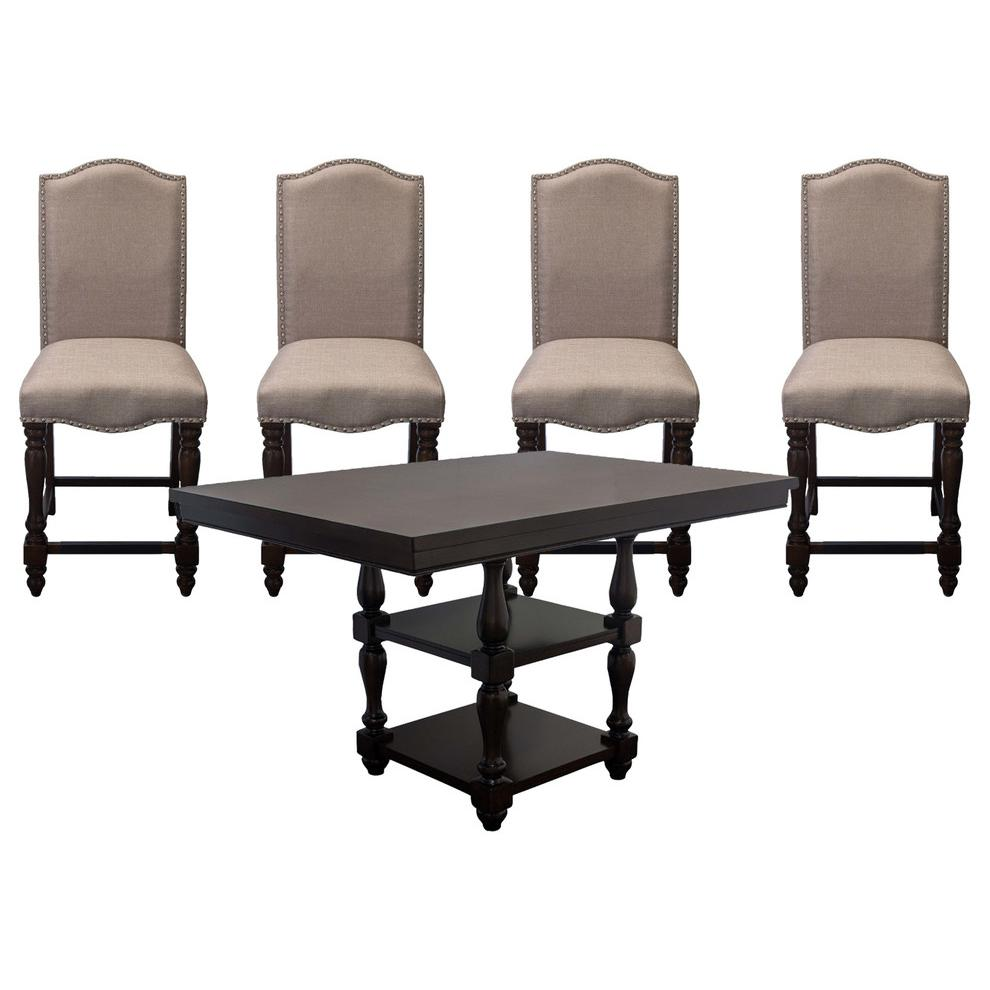 Counter Walnut 5-Piece Dining Set. Picture 1