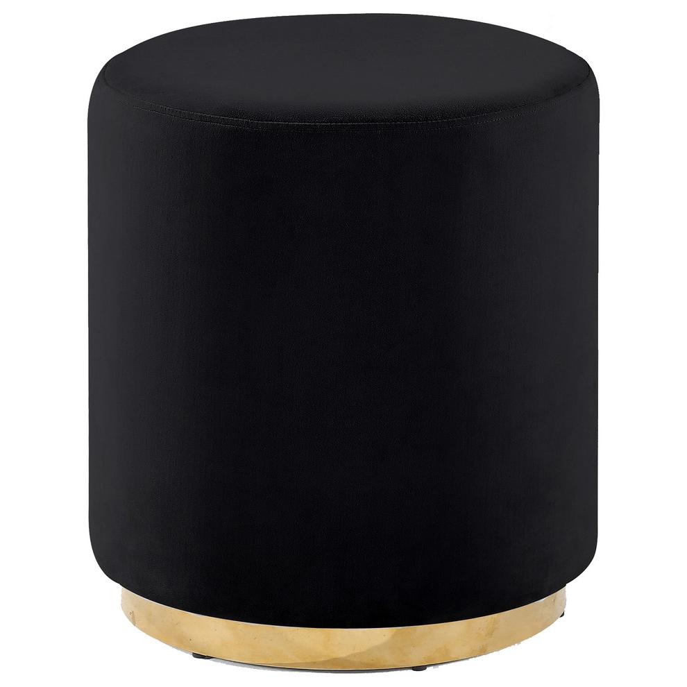 Round Upholstered Accent Stool With Gold Base