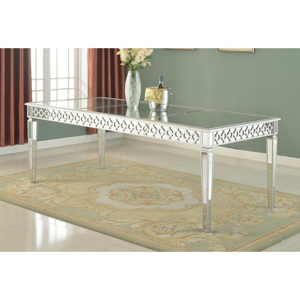 Sophie Silver Mirrored Dining Table