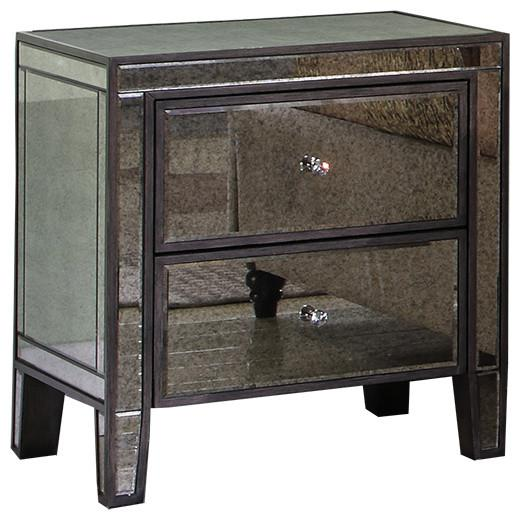 Henrik Gray Brown with Antique Mirror Nightstand. Picture 1