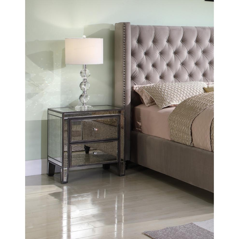 Henrik Gray Brown with Antique Mirror Nightstand. Picture 2