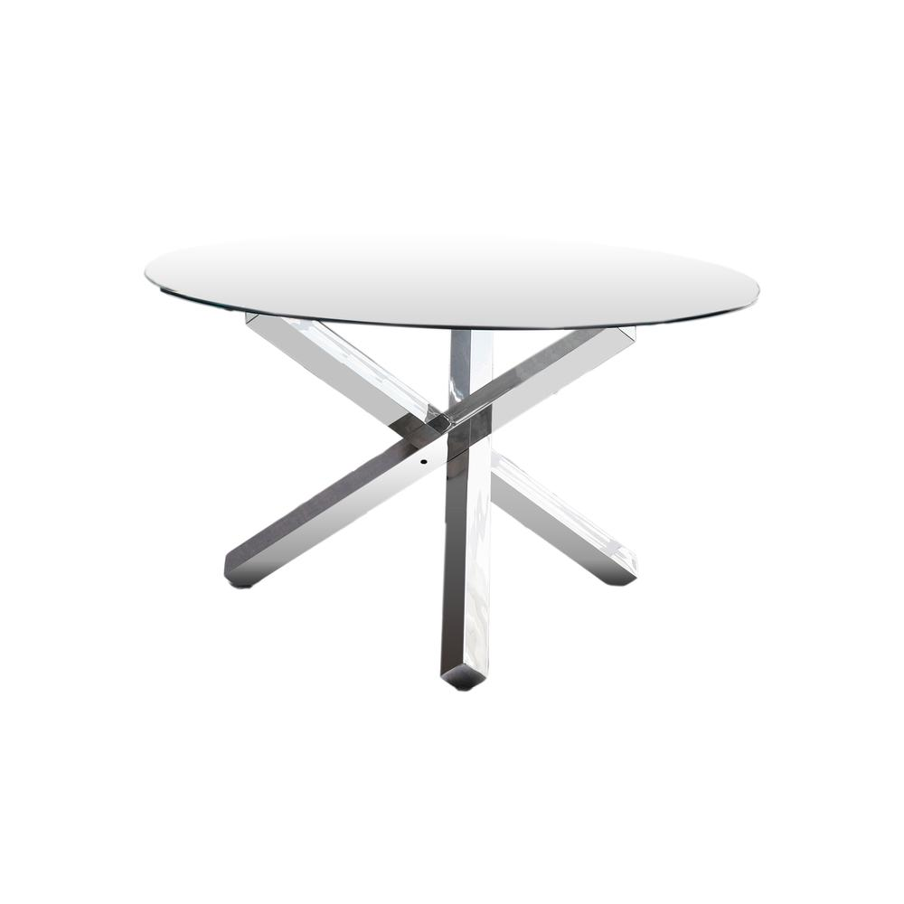 Tracy Modern Glass with Stainless Steel Round Dining Table. Picture 1