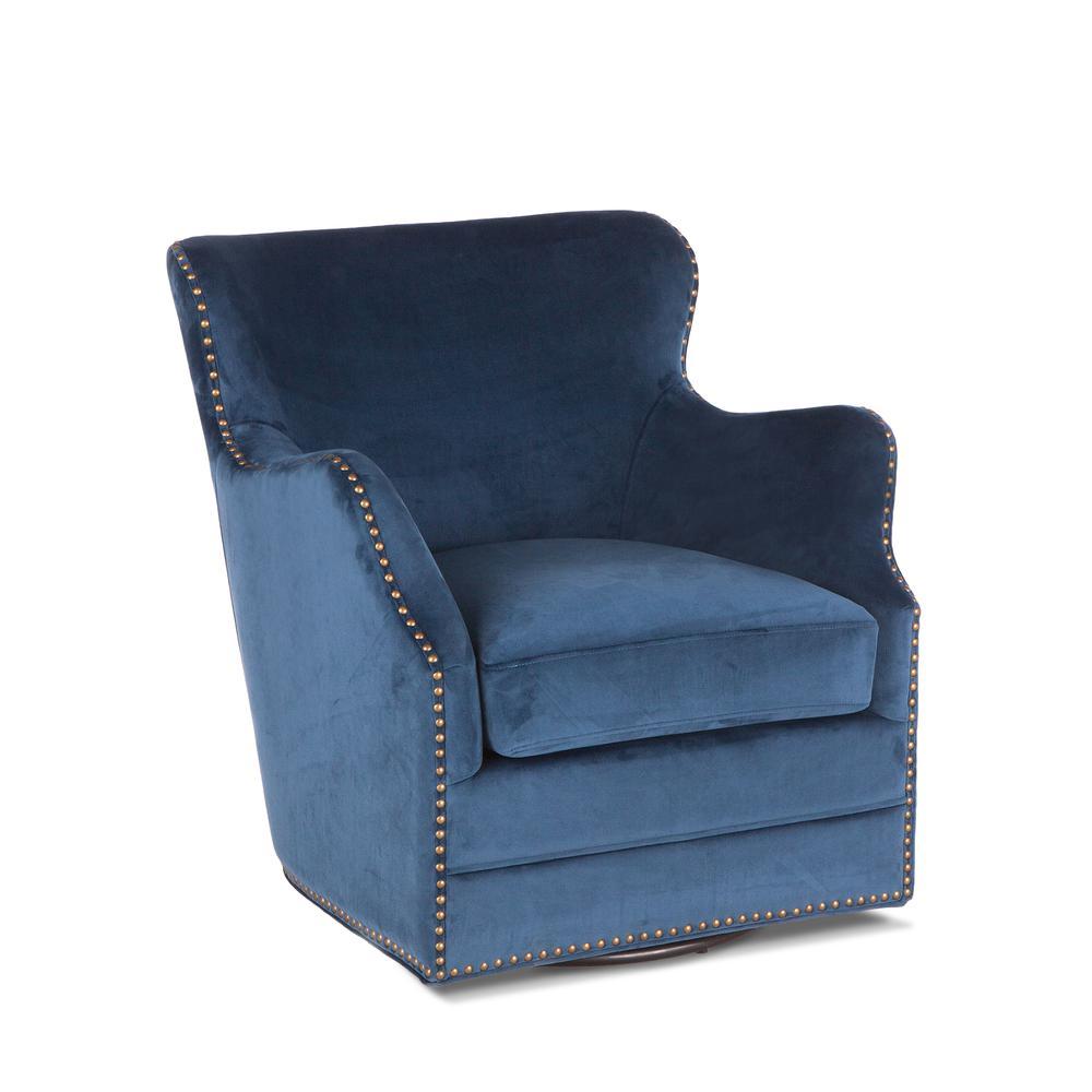 Garner Komodo Blue Swivel Armchair with Nailhead Trim. Picture 1