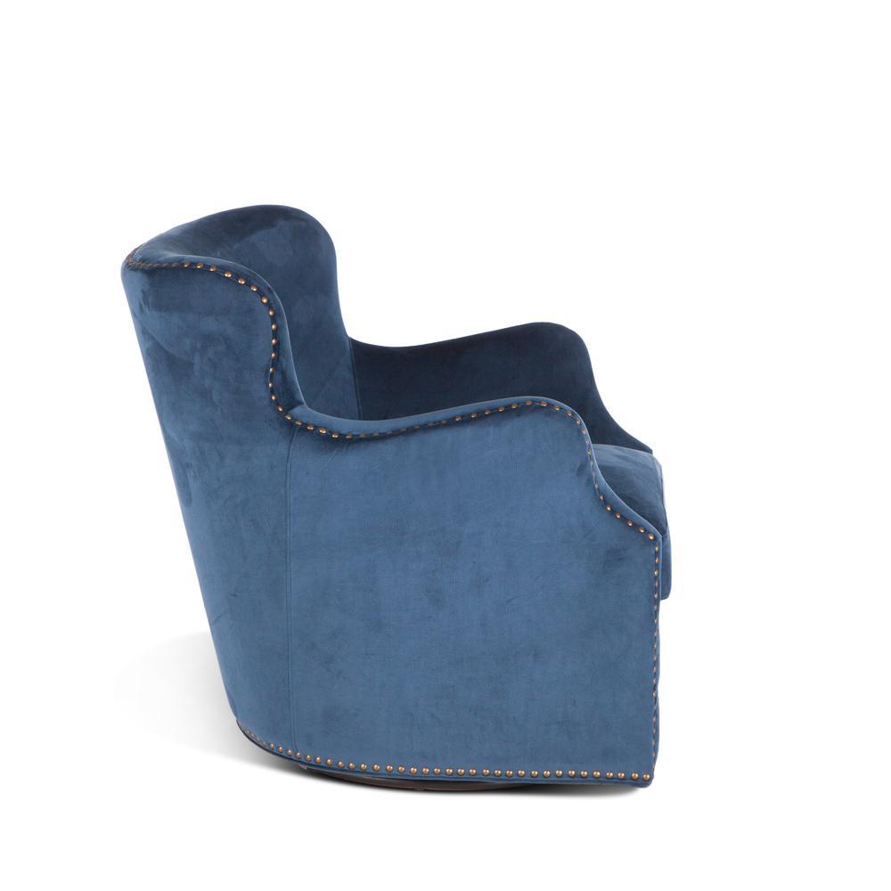 Garner Komodo Blue Swivel Armchair with Nailhead Trim. Picture 2