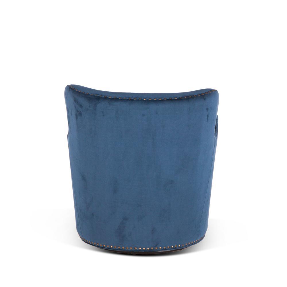 Garner Komodo Blue Swivel Armchair with Nailhead Trim. Picture 3
