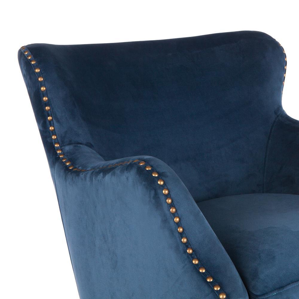 Garner Komodo Blue Swivel Armchair with Nailhead Trim. Picture 4
