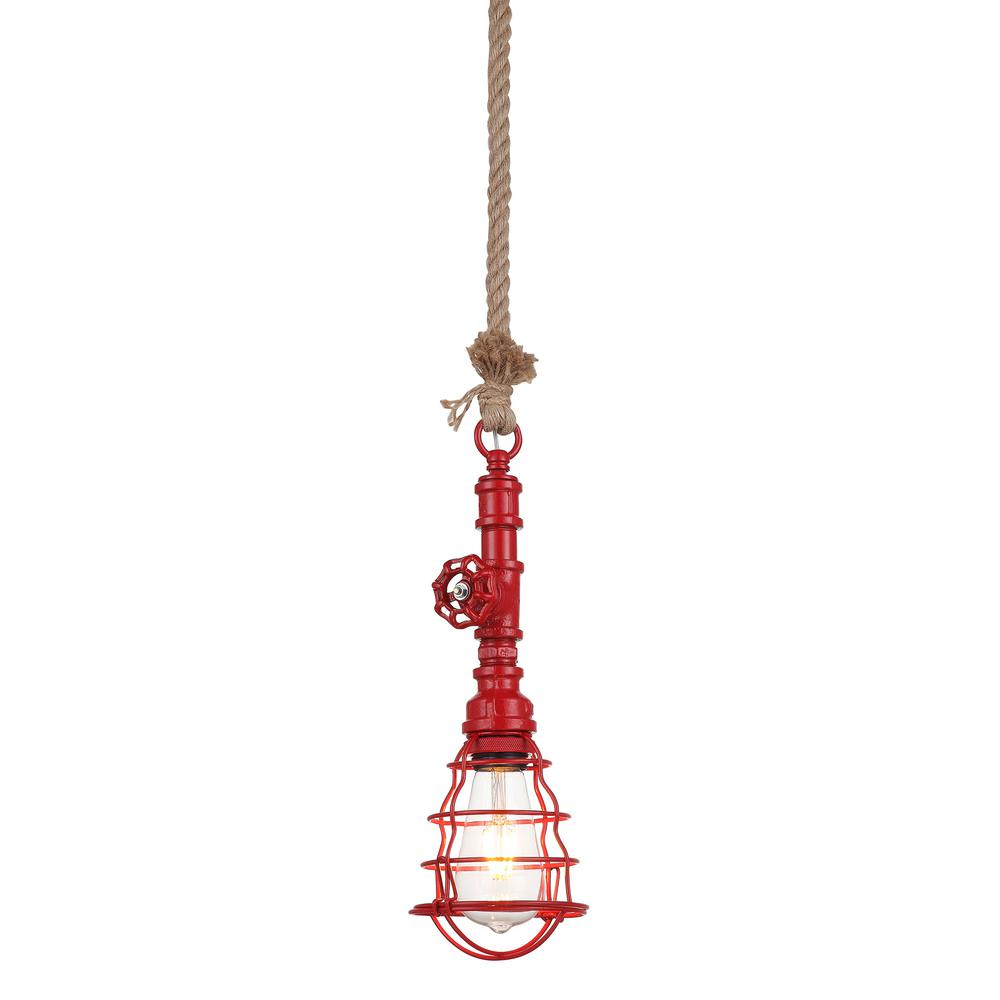 Element Industrial Red Pipe Pendant Light