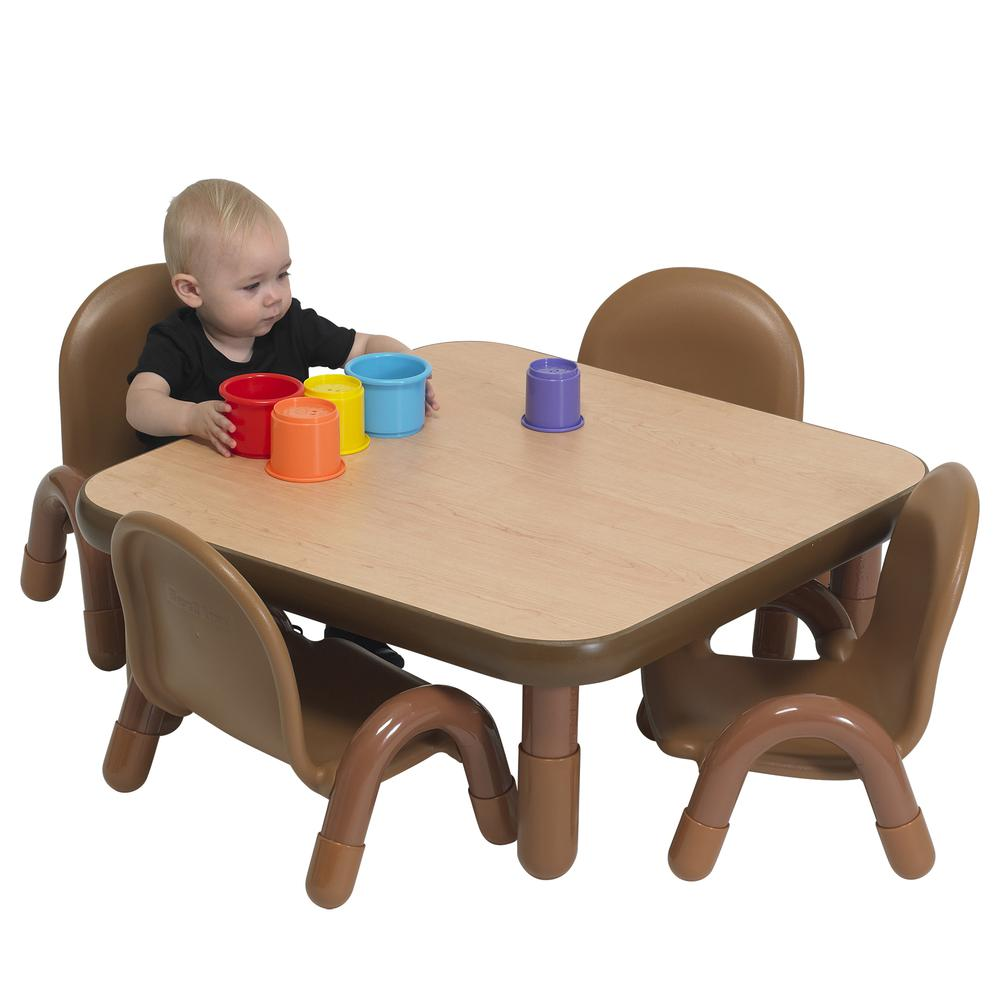 """BaseLine® Toddler 30"""" Square Table & Chair Set - Natural Wood. Picture 8"""