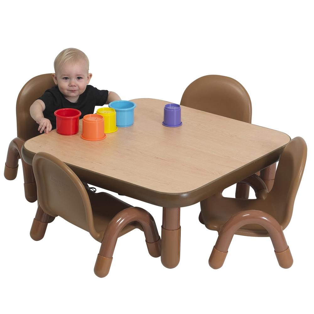 """BaseLine® Toddler 30"""" Square Table & Chair Set - Natural Wood. Picture 2"""