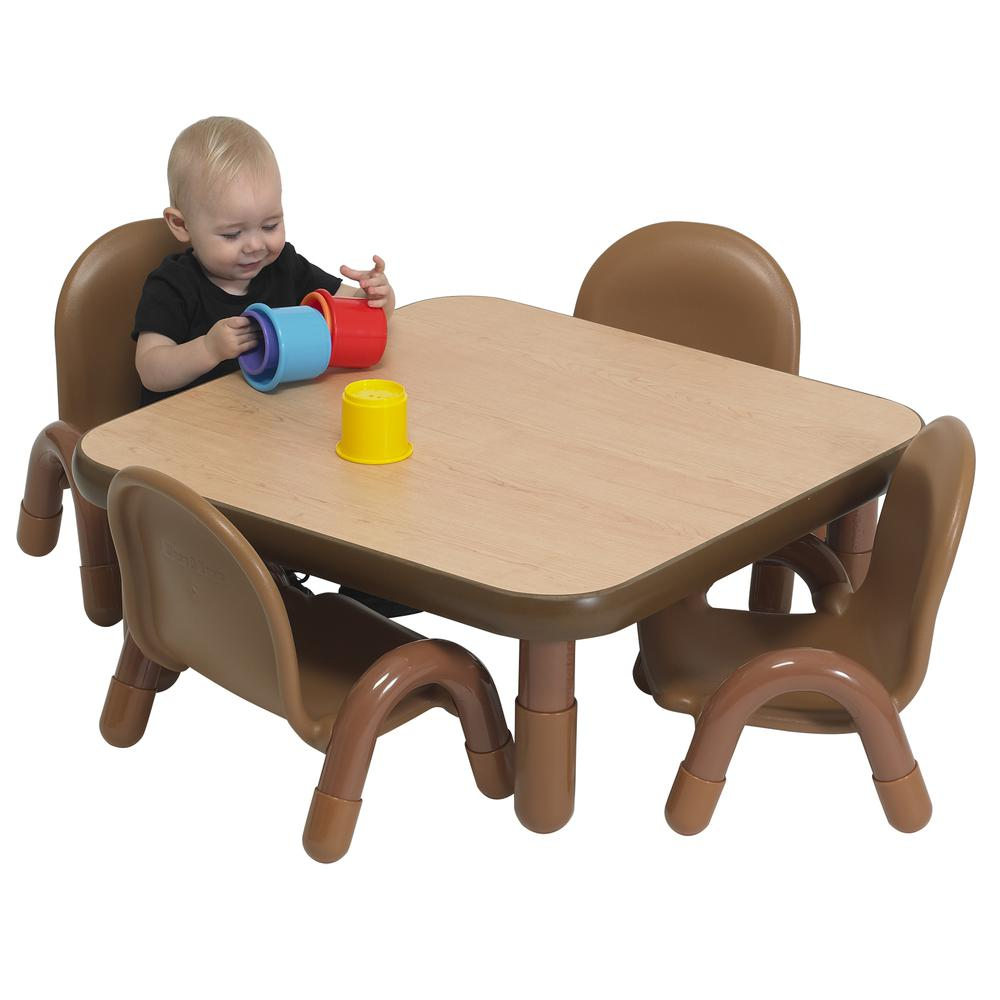 """BaseLine® Toddler 30"""" Square Table & Chair Set - Natural Wood. Picture 3"""