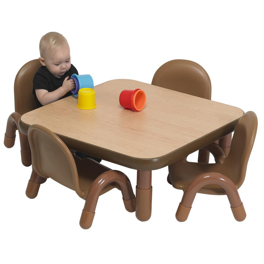 """BaseLine® Toddler 30"""" Square Table & Chair Set - Natural Wood. Picture 4"""