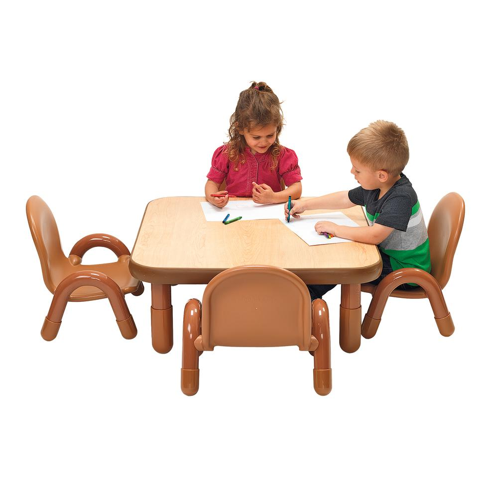 """BaseLine® Toddler 30"""" Square Table & Chair Set - Natural Wood. Picture 1"""