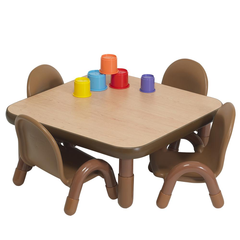 """BaseLine® Toddler 30"""" Square Table & Chair Set - Natural Wood. Picture 5"""