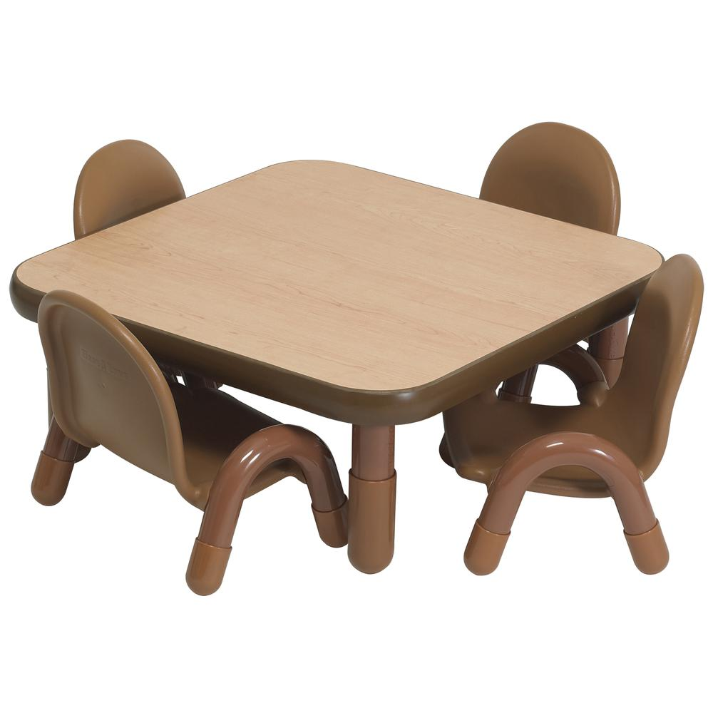 """BaseLine® Toddler 30"""" Square Table & Chair Set - Natural Wood. Picture 6"""