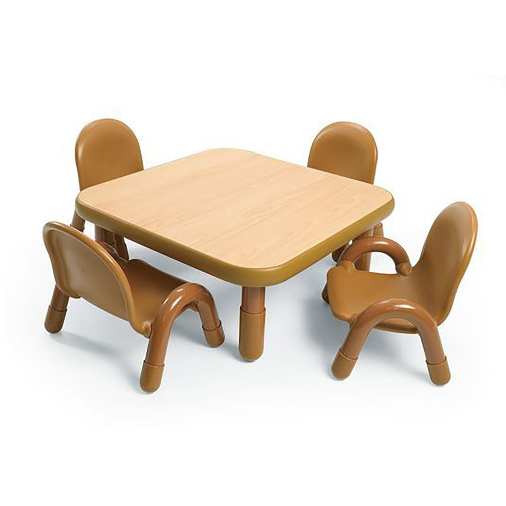 """BaseLine® Toddler 30"""" Square Table & Chair Set - Natural Wood. Picture 9"""