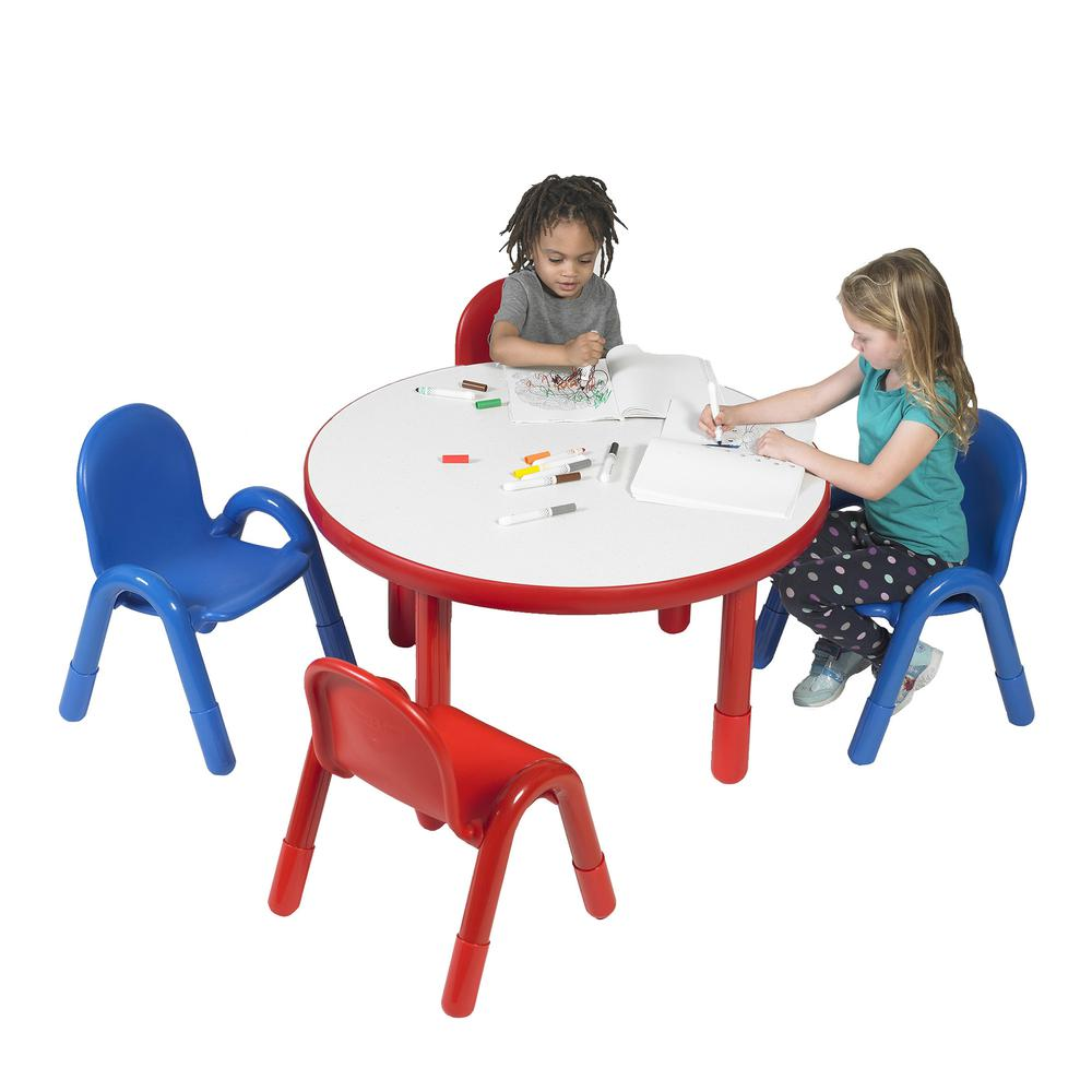 "BaseLine® Preschool 36"" Diameter Round Table & Chair Set - Candy Apple Red. Picture 1"