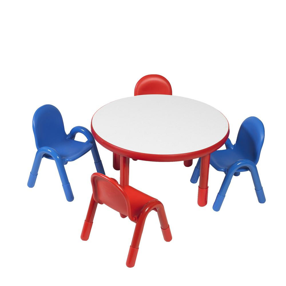 "BaseLine® Preschool 36"" Diameter Round Table & Chair Set - Candy Apple Red. Picture 2"