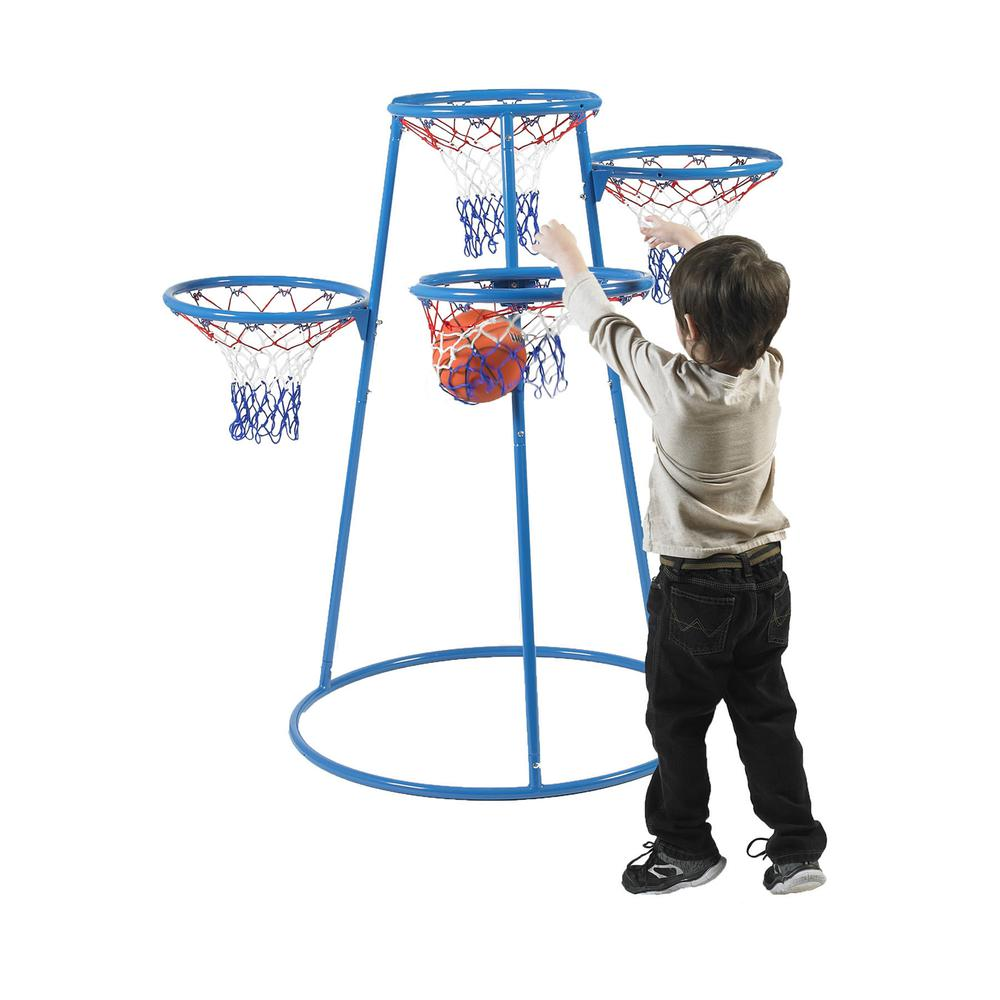 Angeles 4-Hoop Basketball Stand - Blue, Black - Metal. Picture 1
