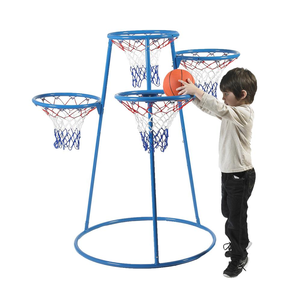 Angeles 4-Hoop Basketball Stand - Blue, Black - Metal. Picture 2