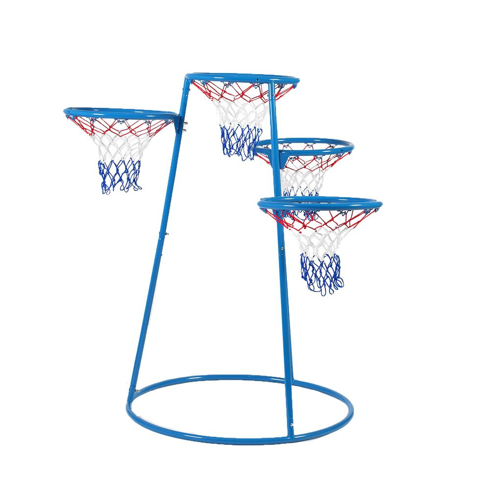 Angeles 4-Hoop Basketball Stand - Blue, Black - Metal. Picture 3