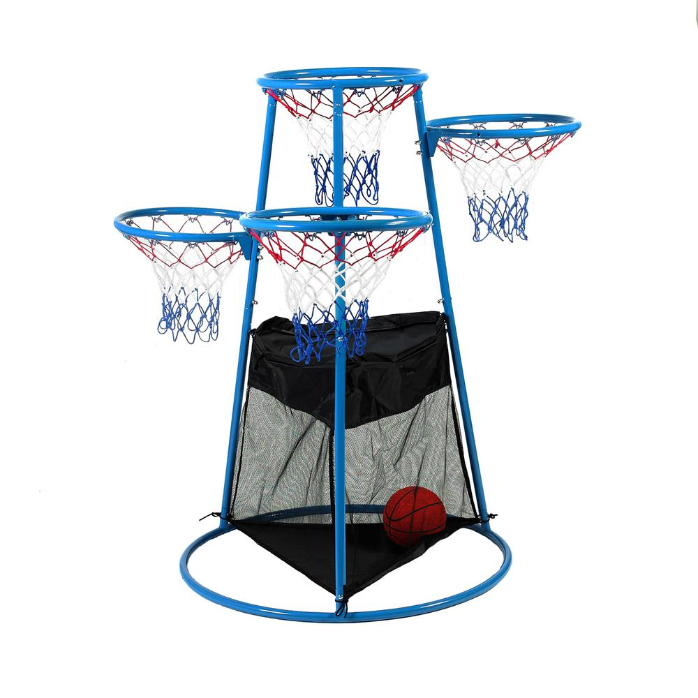 Angeles 4-Hoop Basketball Stand - Blue, Black - Metal. Picture 4