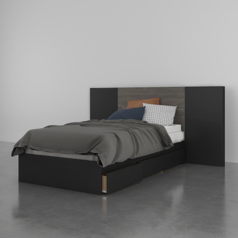 Atlas 3 Piece Twin Size Bedroom Set, Bark Grey and Black. Picture 7
