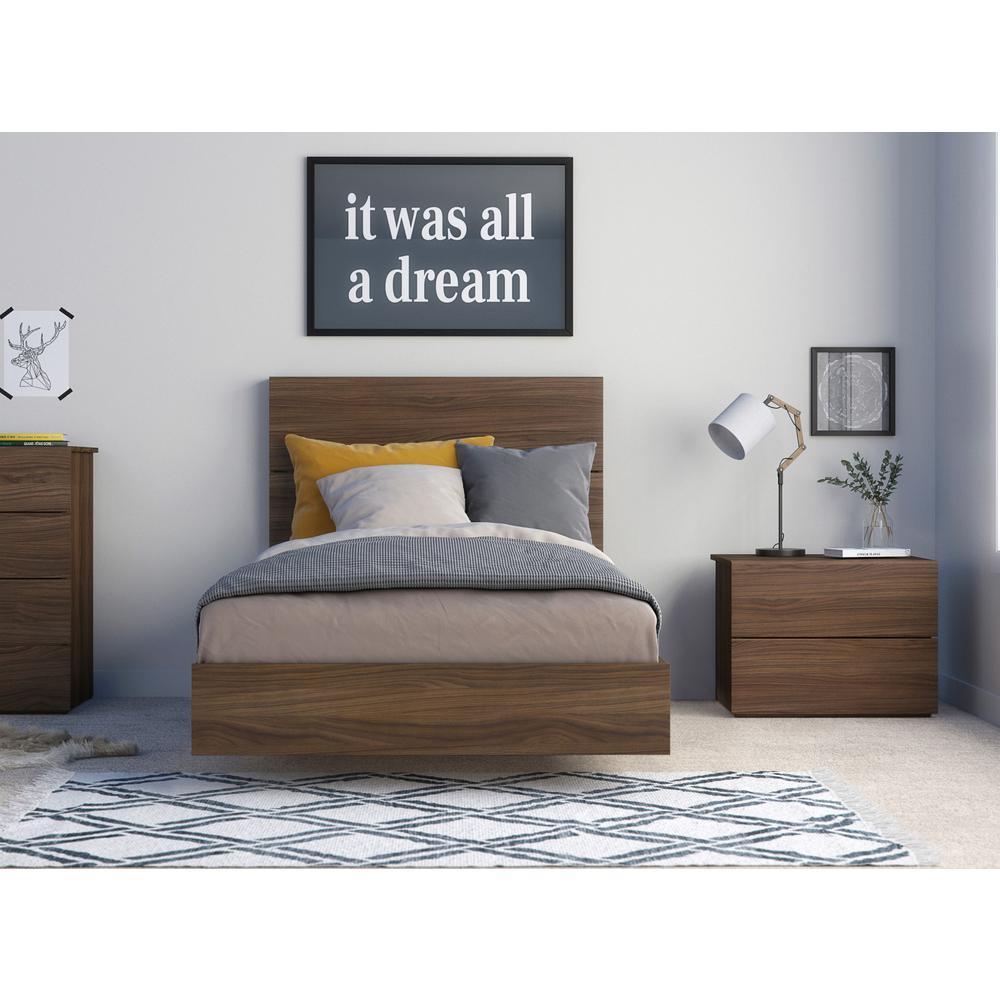 Graham 3 Piece Twin Size Bedroom Set, Walnut. Picture 7