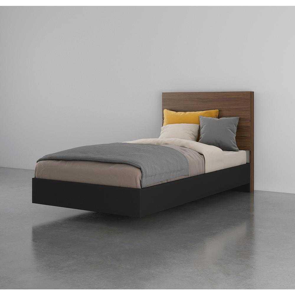 2 Piece Twin Size Bedroom Set, Walnut and Black. Picture 5