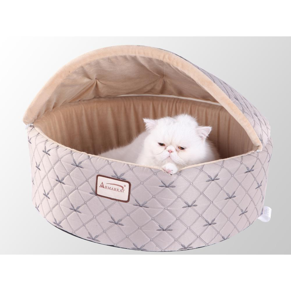 Armarkat Cat Bed Model C33HQH/MH-S, Small, Pale Silver and Beige. Picture 1
