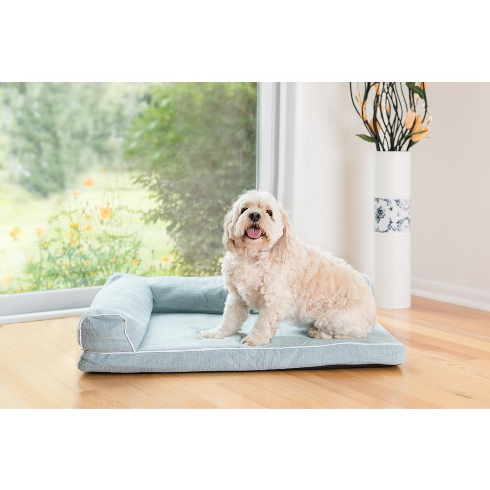 New Armarkat Model D08B Soothing Blue Medium Bolstered Pet Bed with Memory Foam. Picture 1