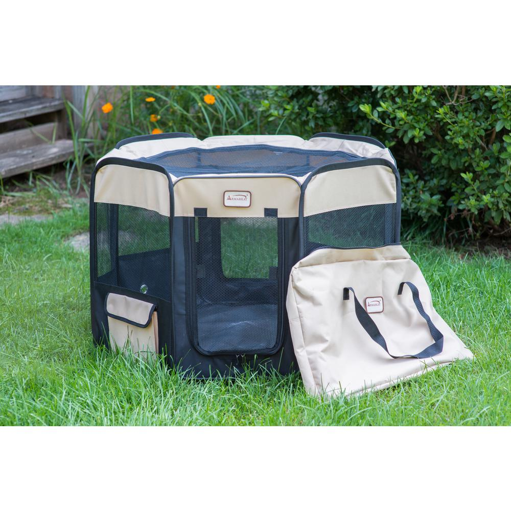 Armarkat Model PP003BGE-M Portable Pet Playpen in Black and Beige Combo. Picture 1