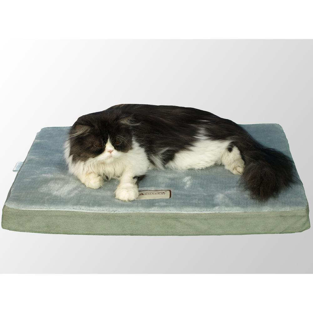 Armarkat Model M06HHL/HS-L Large Memory Foam Orthopedic Pet Bed Mat in Gray & Sage Green. Picture 1