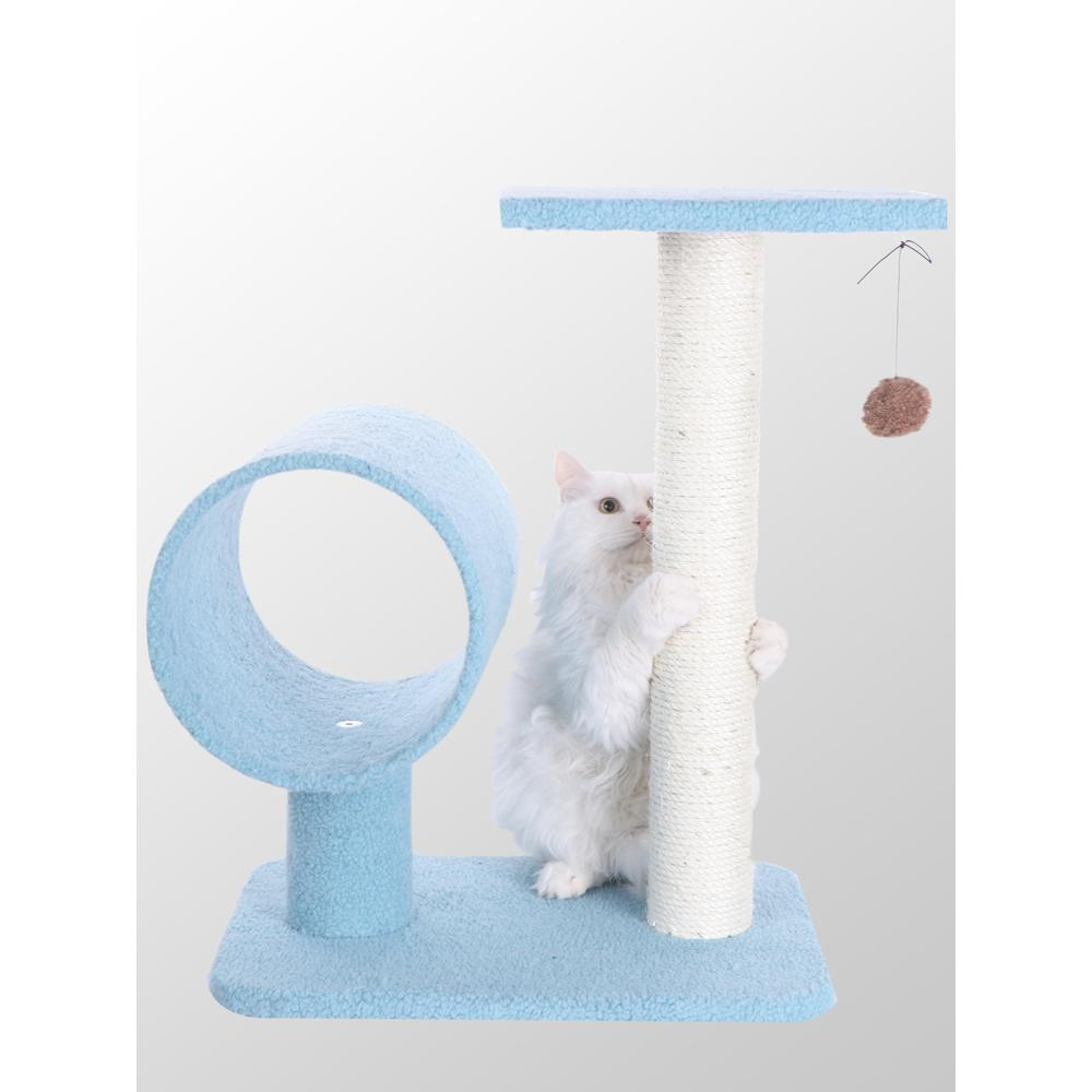Armarkat Model B2501 Classic Cat Tree in Sky Blue with Perch and Hanging Tunnel, Jackson Galaxy Approved. Picture 1