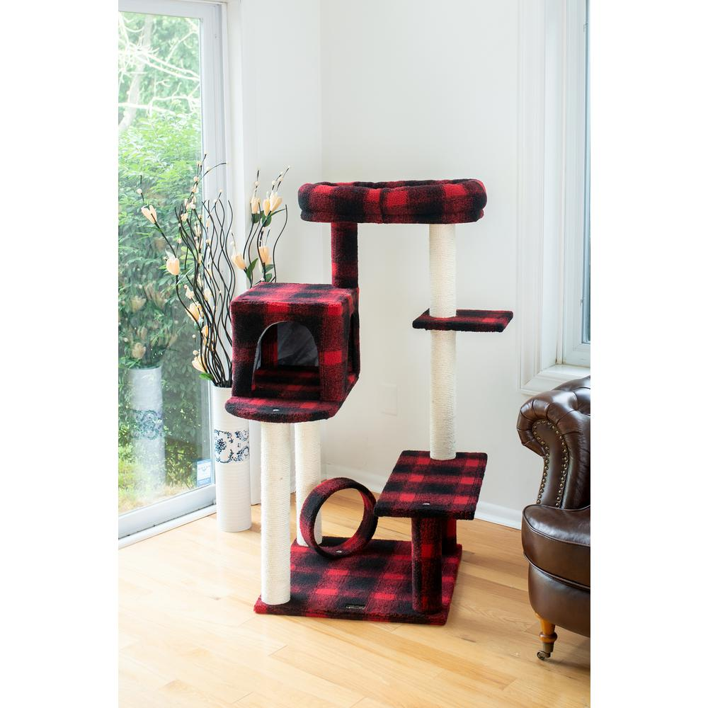 Armarkat Model B5008 50-inch Classic Cat Tree With Veranda, Bench, Mini perch, and Spacious Lounger In Scotch Plaid. Picture 2