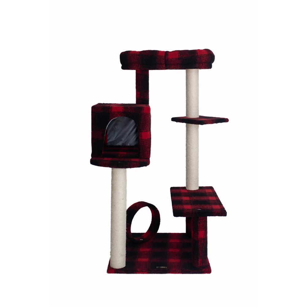 Armarkat Model B5008 50-inch Classic Cat Tree With Veranda, Bench, Mini perch, and Spacious Lounger In Scotch Plaid. Picture 1