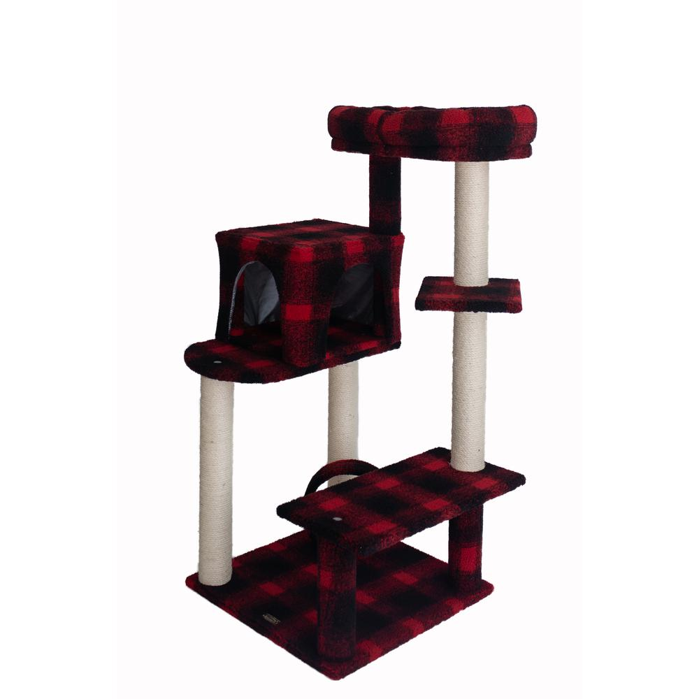 Armarkat Model B5008 50-inch Classic Cat Tree With Veranda, Bench, Mini perch, and Spacious Lounger In Scotch Plaid. Picture 3