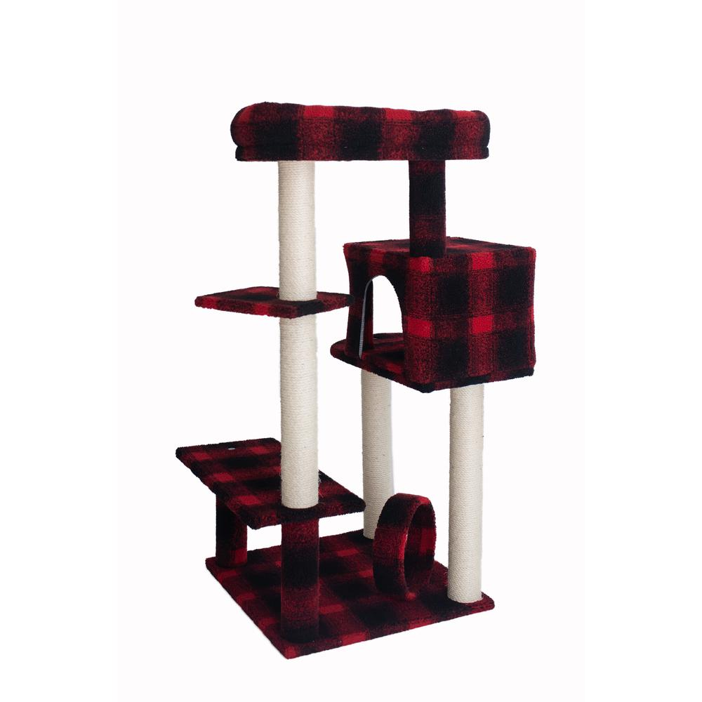 Armarkat Model B5008 50-inch Classic Cat Tree With Veranda, Bench, Mini perch, and Spacious Lounger In Scotch Plaid. Picture 4