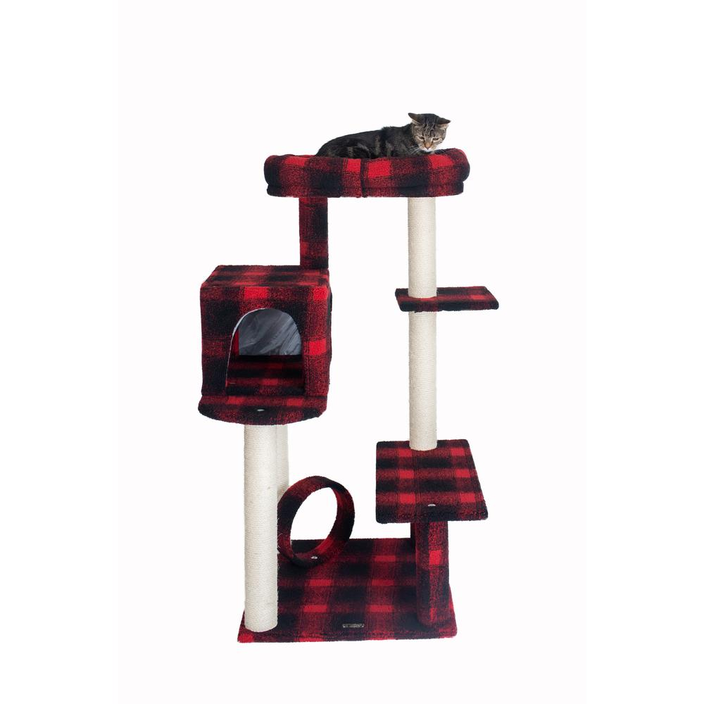 Armarkat Model B5008 50-inch Classic Cat Tree With Veranda, Bench, Mini perch, and Spacious Lounger In Scotch Plaid. Picture 5