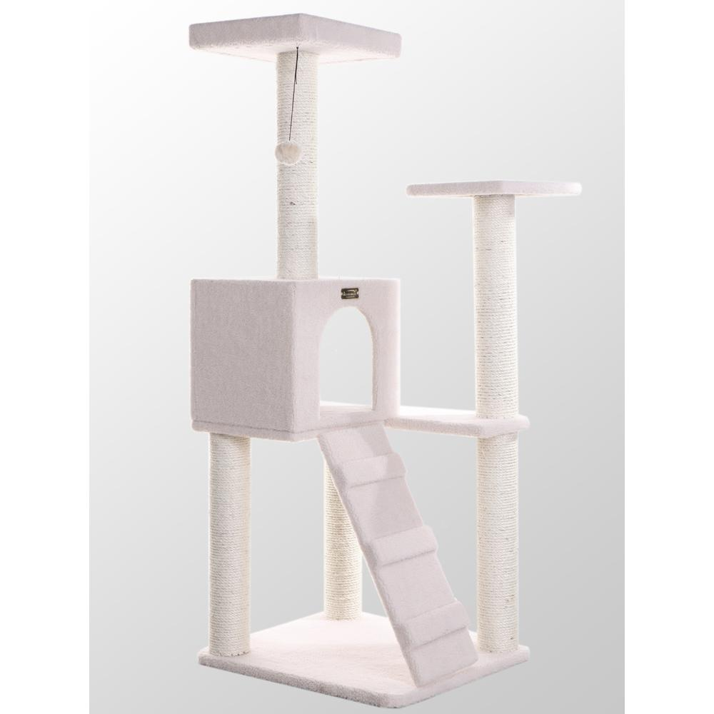 Armarkat Model B5301 53-Inch Classic Cat Tree in Ivory with Ramp, Perch, Condo, Jackson Galaxy Approved. Picture 1