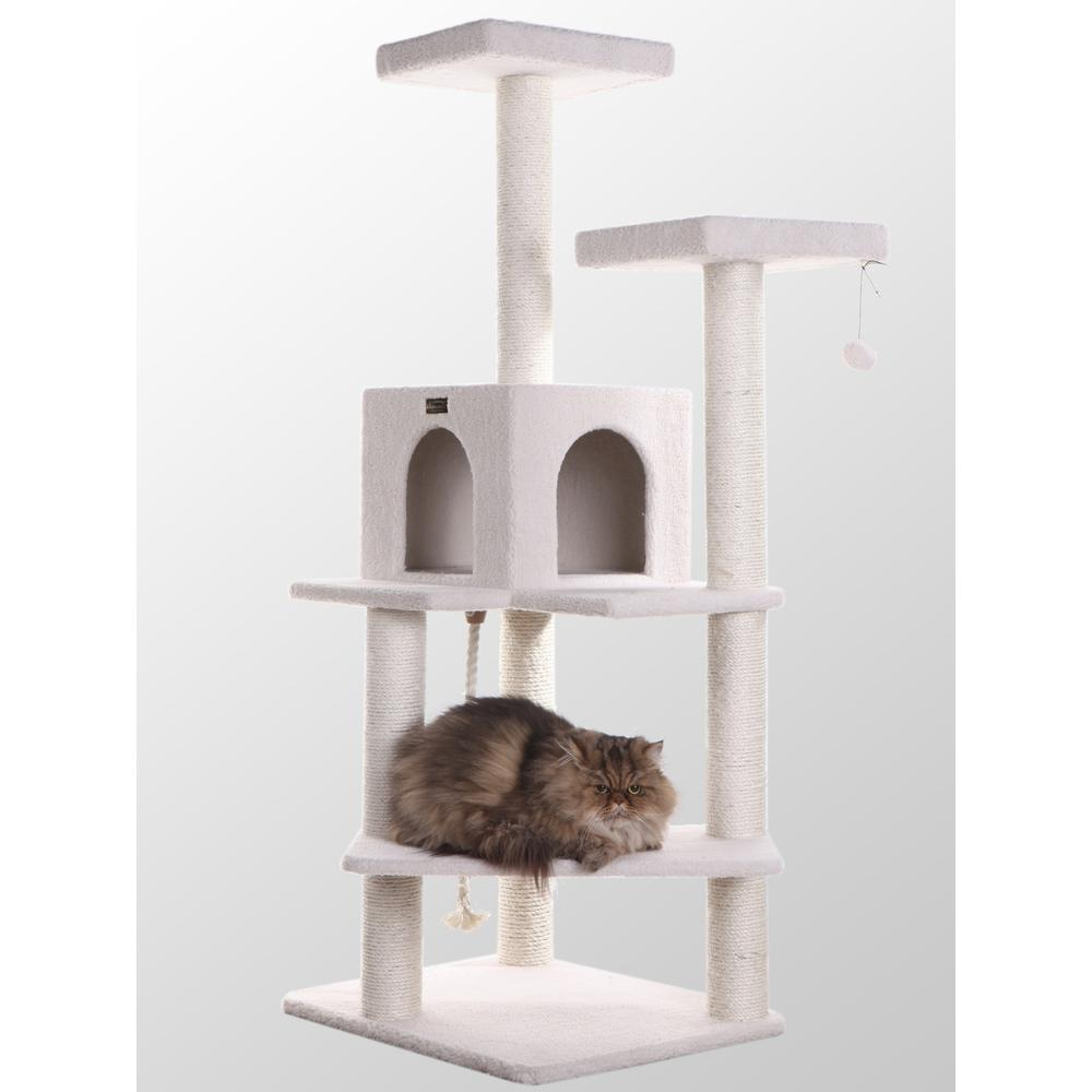 Armarkat Model B5701 57-Inch Classic Cat Tree in Ivory, Jackson Galaxy Approved, Four Levels with Two Perches and Two-Door Condo. Picture 1