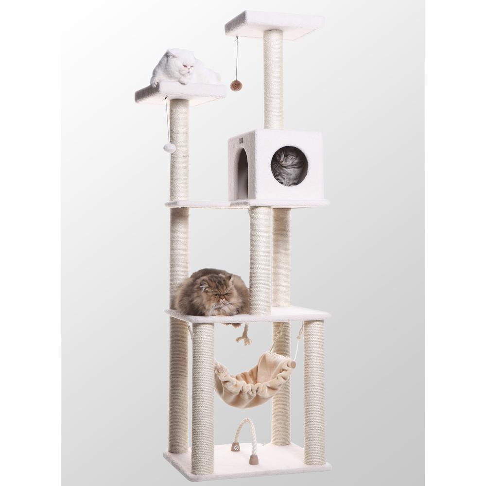Armarkat Model B7301 Classic Cat Tree in Ivory, Jackson Galaxy Approved, Four Levels with Rope Swing, Hammock, Condo, and Perch. Picture 1