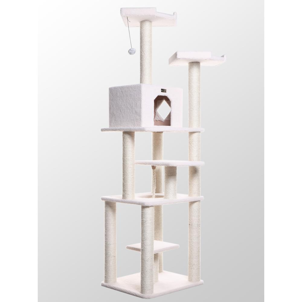 Armarkat Model B7801 Classic Cat Tree in Ivory, Jackson Galaxy Approved, Six Levels with Playhouse and Rope Swing. Picture 1