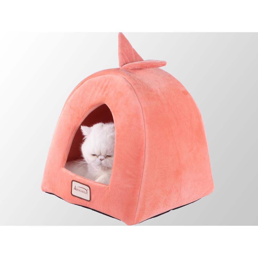 Armarkat Cat Bed Model C10HCS/MB          Orange and Ivory. Picture 1