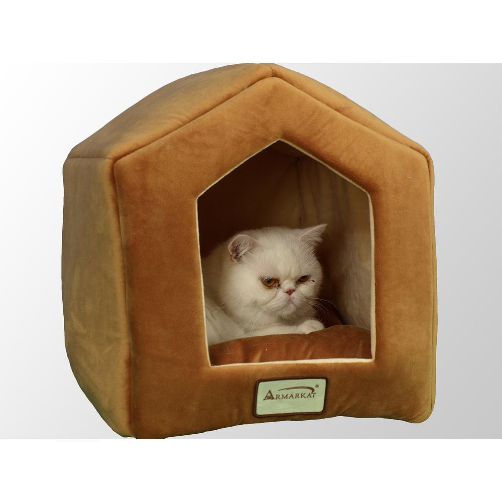 Armarkat Cat Bed Model C27CZS/MH           Earth Brown & Beige. Picture 1