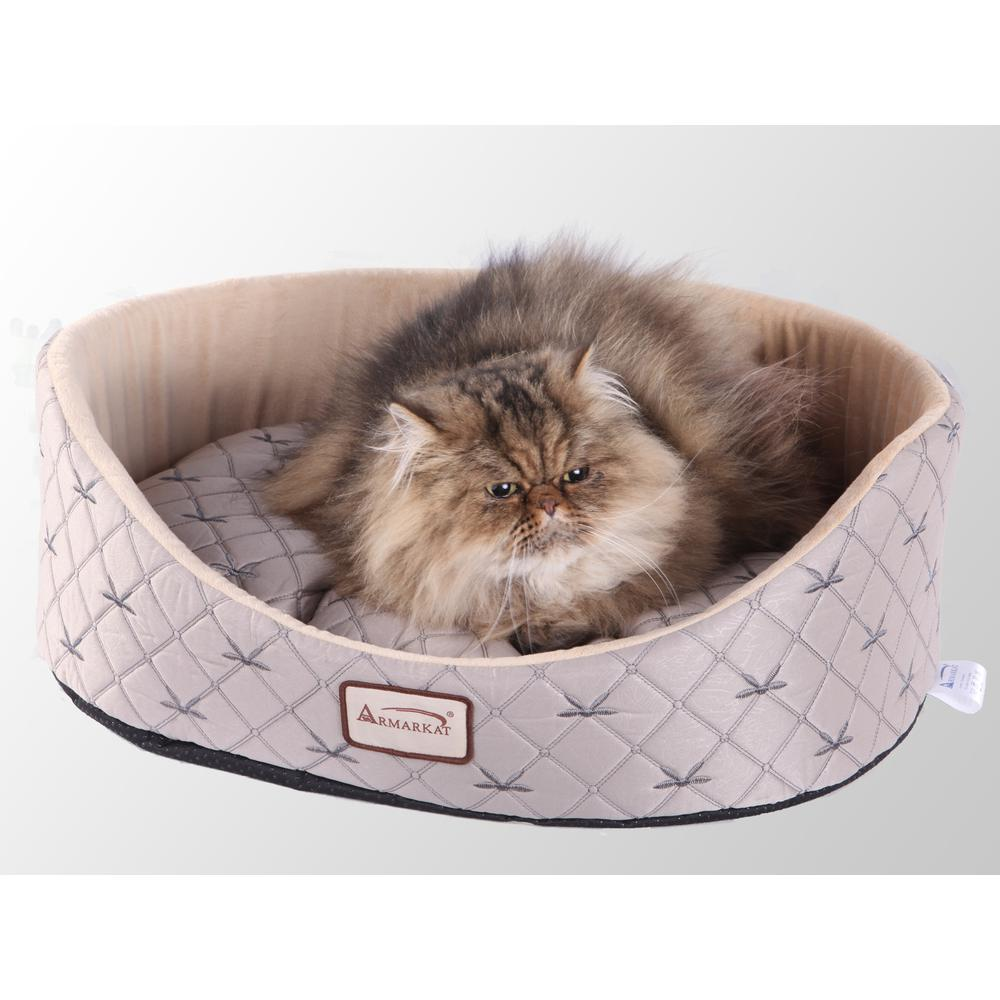 Armarkat Cat Bed Model C35HQH/MH,  Pale Silver and Beige. Picture 1