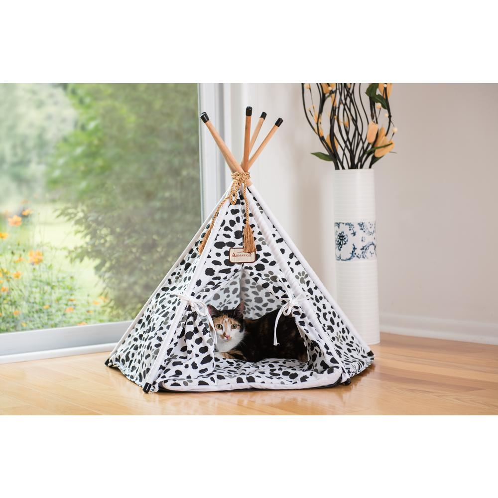 Armarkat Cat Bed Model C46, Teepee style, White w/black paw print. Picture 1